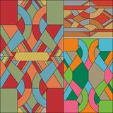 Art Deco wektoru barwiony geometryczny wzór Art Deco witrażu wzór ilustracja wektor