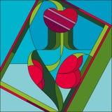 Art Deco wektoru kwiatu barwiony geometryczny wzór Art Deco witrażu wzór royalty ilustracja