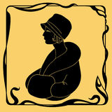 Art deco woman silhouette Royalty Free Stock Images