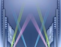 Art DecoGebäudefeld w/spotlights vektor abbildung
