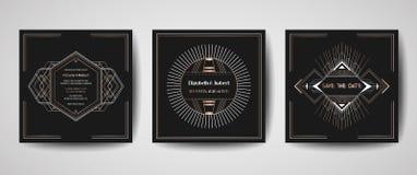 Art- Decokardiert Luxushochzeit Abwehr das Datum, Einladung Sammlung mit Goldgeometrischen Rahmen modische Abdeckung, Plakat lizenzfreie abbildung