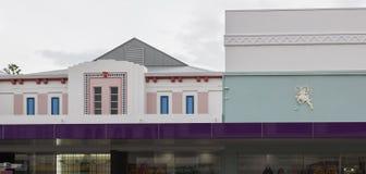 Art Decor Details sur la façade à Napier, Nouvelle-Zélande photo stock