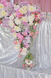 Art decor wedding table. Art decor wedding decoration in the form of a bouquet of flowers on the table. Rose cornflowers peonies and rose rose by David Austin Royalty Free Stock Photos