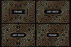 Art- DecoRahmen Goldene Linie der Weinlese Grenze, dekorative Goldverzierung und abstrakter geometrischer Rahmengrenzluxusvektor lizenzfreie abbildung