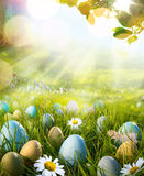 Art decorated easter eggs in the grass with daisies Royalty Free Stock Image