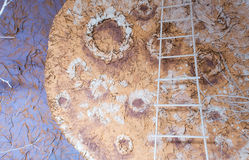 Art decoration with stairway. moon wallpaper background. Royalty Free Stock Photography