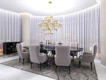 Art- DecoRaum für Verhandlungen, mit einer Tabelle und luxuriösen Lehnsesseln für acht Leute und einen großen vergoldeten Leuchte stock abbildung