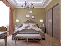 Art decoslaapkamer met plafondneonlichten Royalty-vrije Stock Afbeelding