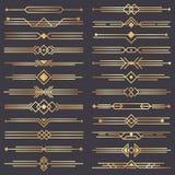 Art- DecoTeiler Goldretro- Künste Grenze, zwanziger Jahre dekorative Verzierungen und goldener Teilergrenzvektorentwurfssatz lizenzfreie abbildung