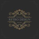 Art- DecoWeinlesedesign von Retro- Flourishesrahmen Stockbilder
