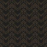 Art- Decozeichnet geometrisches Mustergold schwarzen Hintergrund Stockfotografie