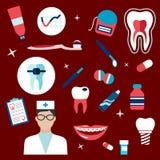 Art dentaire, icônes d'hygiène et symboles Images libres de droits