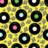 Art der Nostalgie 80s, Weinlese nahtloser Hintergrund Retro- 80 ` s Mode Muster mit Vinylaufzeichnung Lizenzfreie Stockfotografie