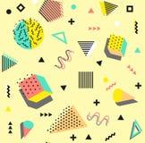 Art der Retro- Weinlesemode 80s oder 90s Nahtloses Muster Memphis Modische geometrische Elemente Moderne abstrakte Auslegung lizenzfreie stockbilder