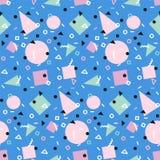 Art der Retro- Weinlesemode 80s oder 90s Nahtloses Muster Memphis Modische geometrische Elemente Moderne abstrakte Auslegung Lizenzfreies Stockfoto