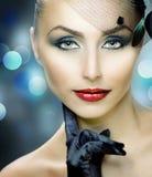 Art der Schönheits-Portrait.Retro Lizenzfreies Stockfoto