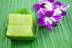 Art des thailändischen Konfekts, multi Schicht-süßer Kuchen (Kanom Chan) stockfotografie