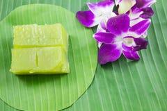 Art des thailändischen Konfekts, multi Schicht-süßer Kuchen (Kanom Chan) lizenzfreies stockfoto