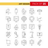 Art Design Black Line Icon - insieme dell'icona del profilo di 25 affari illustrazione vettoriale