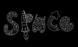 Art design decorative word space, doodle sketch style. Vector hand drawing letters with a pattern of space. Doodle creative typographic illustration. Design Stock Photography