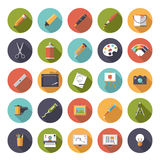 Art and design flat icon vector collection. Collection of 25 flat art and design related vector icons in colored circles Stock Images