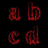 Art design fonts from maple leaf lowercase abcd Stock Photos