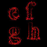 Art design fonts from maple leaf lowercase efgh Stock Images