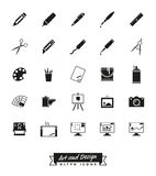 Art and design glyph icon vector collection. Collection of 25 solid art and design related vector icons Royalty Free Stock Image