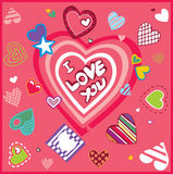 Art design greeting card with hearts Stock Image