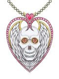 Art design heart mix wings skull pendant. Royalty Free Stock Photography