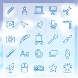 25 art, design icons set. 25 outline art, design icons set, blue on clouds background Royalty Free Stock Photos
