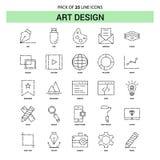 Art Design Line Icon Set - stile tratteggiato del profilo 25 illustrazione vettoriale