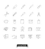 Art and design line icons collection. Collection of art, design and publishing symbols, line icon style Royalty Free Stock Images