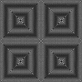 Art Design op, mattonelle con i quadrati a strisce, Vector il modello senza cuciture Fotografia Stock