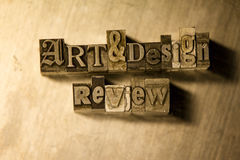 Art & design review - Metal letterpress lettering sign Stock Photo
