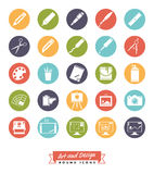 Art and design round color icon vector collection Royalty Free Stock Photo