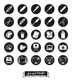Art and design round icon vector collection. Collection of 25 round art and design related vector icons Stock Photo