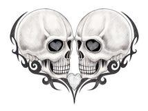 Art skull tattoo. Art design skull tattoo hand drawing on paper Royalty Free Stock Photos