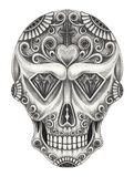 Art sugar skull day of the dead. Hand pencil drawing on paper. Royalty Free Stock Photo
