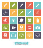 Art and design square color icon vector collection Stock Image