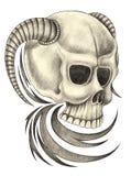 Art devil skull tattoo. Royalty Free Stock Photo