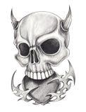 Art devil skull tattoo. Stock Image