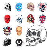 Art différent d'anatomie de tatouage de style d'horreur de Halloween d'illustration de vecteur de visages de crânes de style Photo stock