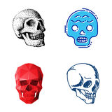Art différent d'anatomie de tatouage de style d'horreur de Halloween d'illustration de vecteur de visages de crânes de style Images libres de droits