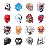 Art différent d'anatomie de tatouage de style d'horreur de Halloween d'illustration de vecteur de visages de crânes de style Image libre de droits