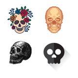 Art différent d'anatomie de tatouage de style d'horreur de Halloween d'illustration de vecteur de visages de crânes de style Photos libres de droits