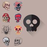 Art différent d'anatomie de tatouage de style d'horreur de Halloween d'illustration de vecteur de visages de crânes de style Photo libre de droits