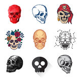 Art différent d'anatomie de tatouage de style d'horreur de Halloween d'illustration de vecteur de visages de crânes de style Photographie stock