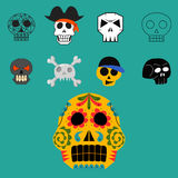 Art différent d'anatomie de tatouage de style d'horreur de Halloween d'illustration de vecteur de visages de crânes de style Photos stock