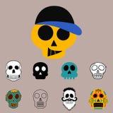 Art différent d'anatomie de tatouage de style d'horreur de Halloween d'illustration de vecteur de visages de crânes de style Image stock